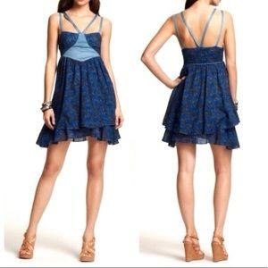 Free People blue floral sleeveless boho dress